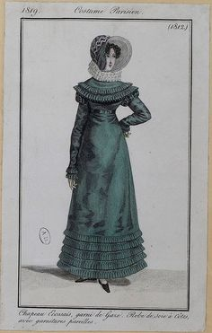 A teal silk gown, 1819 Costume parisien