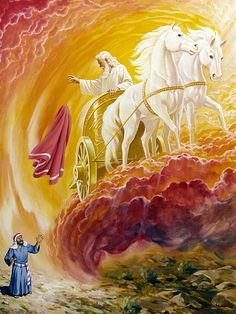Elijah the Prophet throwing his cape to Elisha the prophet. Elisha would take over for Elijah who was taken up to Heaven in a chariot of fire. Enock and Elijah are the only people who did not die a physical death.