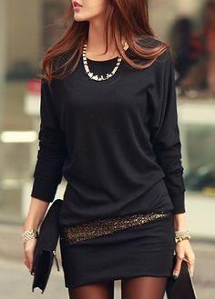 Comfy Round Neck Long Sleeve Black Cotton Dress