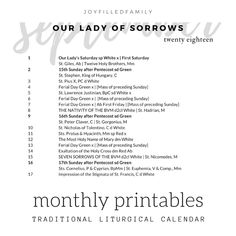 Printable monthly view of Liturgical Calendar according to the Traditional Calendar of the Roman Rite