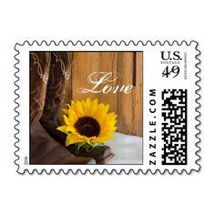 Country Sunflower Love Wedding Postage Stamp