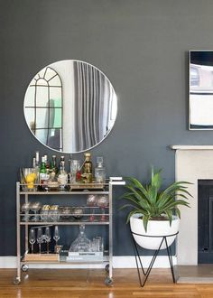Apartment interior, city apartment decor, diy bar cart, bar cart styling, b Small Apartment Storage, Apartment Bar, Apartment Design, Small Apartments, Apartment Layout, Studio Apartments, Apartment Living, City Apartment Decor, Small Apartment Furniture