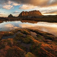The jagged, dolerite peaks of Cradle Mountain reflected at sunset in the still waters of Kathleen's Pool, captured by @jasonlstephens.  Tassie contains the world's largest exposure of dolerite - the rock responsible for the dramatic sea cliffs on the Tasman Peninsula and Bruny Island and the rugged and mountainous landscapes for which the Cradle Mountain-Lake St Clair National Park is famous. Thanks for tagging #discovertasmania, Jason! #cradlemountain