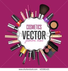 Makeup cosmetics products. Makeup tools. Beauty cosmetics. Makeup beauty product. Isolated makeup product. Beauty makeup package. Makeup brush. Fashion cosmetic. Makeup. Make-up. Makeup cosmetic set. - stock vector