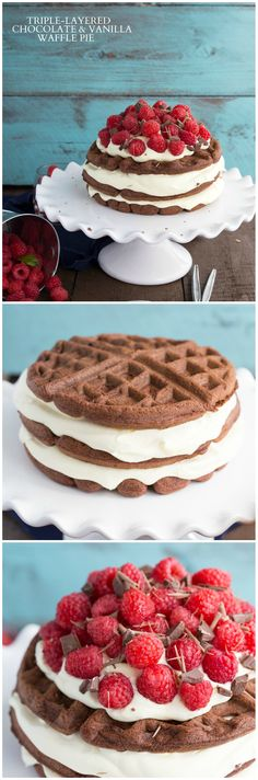 A tri-layered fudgy chocolate waffle pie that is ready in less than thirty minutes! I via chelseasmessyapron.com I #dessert