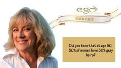 Hair‬ ‪#Fact‬: Did you know that at age 50, 50% of ‪#women‬ have 50% gray hairs? Via: www.goego.in
