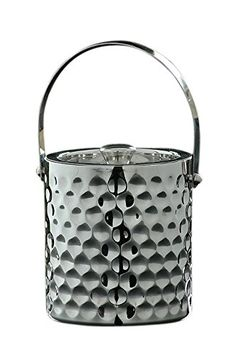 DMA Elements Home StainlessSteel DoubleWalled Ice Bucket with Pocked Design ** Learn more by visiting the image link. Bucket With Lid, Stainless Steel Containers, Ice Cooler, Wine Chillers, Wine Refrigerator, Egg Holder, Tea Pots, Ice Buckets, Barware