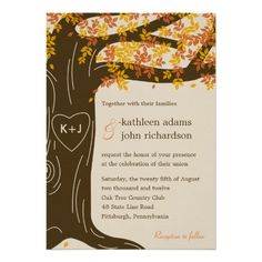 57 best design your own wedding invitations online images on oak tree fall wedding invitation stopboris Choice Image