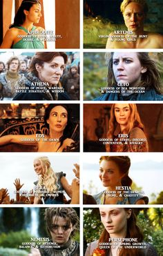 A Song of Ice and Fire Ladies as Greek goddesses. Arianne Martell, Brienne of Tarth, Catelyn Tully, Asha Greyjoy, Mellisandra, Cersei Lannister, Daenerys Targaryen, Margeary Tyrell, Arya Stark and Sansa Stark.