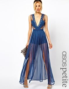 PETITE Exclusive Panelled Maxi Dress With Embellished Organza