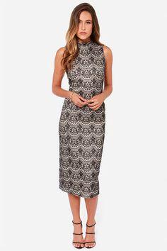 JOA Lace Dress - Black Dress- Midi Dress - Lace Dress -