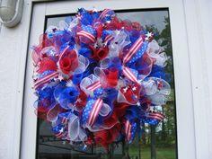 patriotic deco mesh wreath