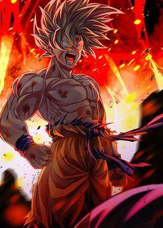 Goku SSJ By: mattari_illust Dragon Ball Image, Dragon Ball Gt, Goku E Vegeta, Son Goku, Goku Wallpaper, Goku Super, Anime Art, Rosario Vampire, Manga Girl