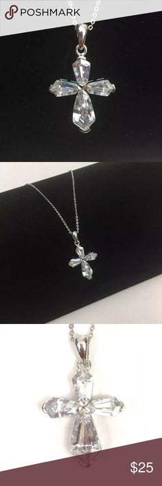 """Sterling Silver Cross Pendant Necklace Zircon Gorgeous new sterling silver cross pendant necklace with high clarity zircon stone by Orsa Jewels; 18"""" Chain Orsa Jewels Jewelry Necklaces #sterlingsilverjewelryjewels"""