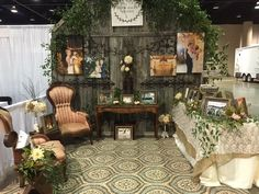 Booth vibe set up to attract brides interested in a rustic or barn wedding
