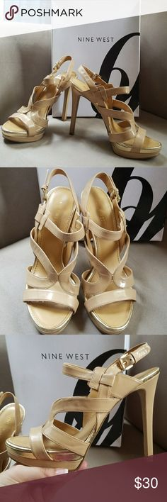 "Nine West Heels Nine West 5"" nude, strappy heels with gold trim. Nine West Shoes"