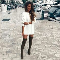Thigh Boots Outfit Gallery so cute more outfit mode und mode outfits Thigh Boots Outfit. Here is Thigh Boots Outfit Gallery for you. Thigh Boots Outfit how to wear thigh high boots 2020 become chic. Thigh Boots Outfit w. Fall Winter Outfits, Autumn Winter Fashion, Spring Outfits, Casual Winter, Dress Winter, Winter Shoes, Outfit Summer, Winter Style, Mode Outfits