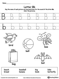 **FREE** Words Starting With Letter B Worksheet.Teach the beginning letter sound by saying the name of each picture and then allow your child to trace the uppercase and lowercase letter B in this printable activity worksheet. Letter B Activities, Printable Alphabet Worksheets, Letter Worksheets For Preschool, Writing Practice Worksheets, Preschool Writing, Science Worksheets, Preschool Letters, Phonics Worksheets, Learning Letters