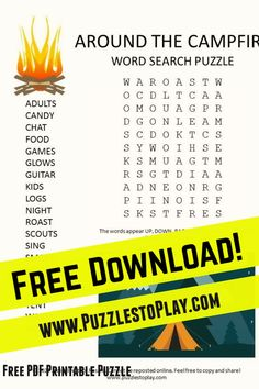 Around the Campfire word search is a printable puzzle about a fun activity when you go into nature. The free download reminds us all about the important connection to the great outdoors. Free Word Search Puzzles, Free Printable Word Searches, Free Printable Puzzles, Free Printables, Game Creator, Puzzle Books, Word Games, Fun Events, Love Words
