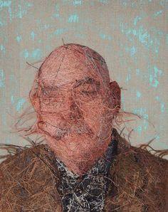 Retrato realista bordado por Cayce Zavaglia - verso