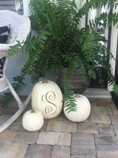 White Pumpkins on the Porch   Starfish Cottage