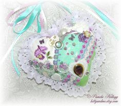 Hanging Heart Hand Embroidered Crazy Quilt Mint by Kittyandme, $29.00