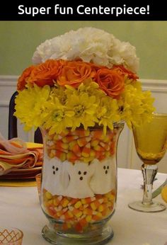 Isnu0027t this Candy Corn Centerpiece Halloween craft just adorable? & Candy corn wood craft | Halloween | Pinterest | Candy corn Woods ...