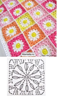 Crochet-Daisy-Blanket- This Primavera Crochet Square Pattern is perfect for all your favourite projects. It will make gorgeous blankets, cushions and more. Crochet Diy, Diy Crochet Flowers, Crochet Motifs, Crochet Square Patterns, Manta Crochet, Crochet Squares, Crochet Crafts, Crochet Projects, Knitting Patterns