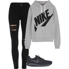 Shoes A fashion look from February 2016 featuring NIKE sweatshirts and NIKE sneakers. Browse and shop related looks.A fashion look from February 2016 featuring NIKE sweatshirts and NIKE sneakers. Browse and shop related looks. Cute Lazy Outfits, Cute Swag Outfits, Teenage Girl Outfits, Cute Outfits For School, Teen Fashion Outfits, Sporty Outfits, Teenager Outfits, Outfits For Teens, Stylish Outfits