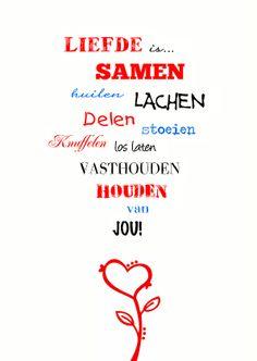 ♥Kaartje2go - Valentijnskaarten - Liefde is woordenkaart