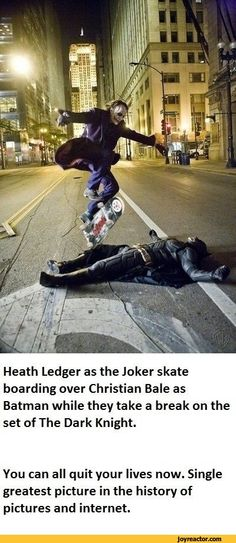 Funny Christian Bale | Heath Ledger as the Joker skate boarding over Christian Bale as Batman ...