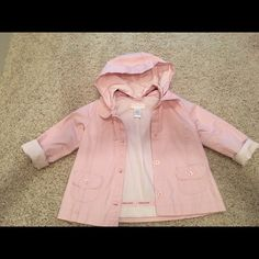 Janie and Jack pink jacket! Removable hoodie! Good condition! Janie and Jack Jackets & Coats Raincoats