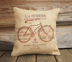 Bicycle Pillow Cover, Burlap Throw Pillow, French Decor, Feed Sack, Cushion, Accent Pillow, Decorative Throw Pillow, Jute, 16x16. $38.00, via Etsy.