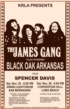 The James Gang, Black Oak Arkansas - Swing Auditorium, San Bernadino & Convention Hall Long Beach