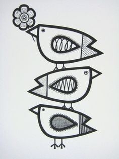 great expressive lines for these birds #blackandwhite #illustration