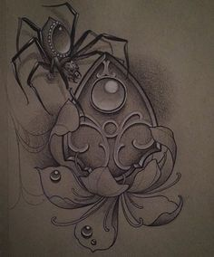 Instagram media by jackassica - #ouija #spider #flower #tattoo #drawing…