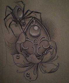 Instagram media by jackassica - #ouija #spider #flower #tattoo #drawing…