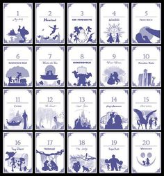 Disney Themed Table Numbers Set 20 von TatakiDesign bei Etsy Source by Wedding Table Themes, Wedding Table Numbers, Disney Wedding Centerpieces, Wedding Ideas, Wedding Pictures, Disney Table Numbers, Disney Table Plan, Trendy Wedding, Dream Wedding