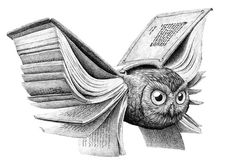 Redmer Hoekstra...books give you wings... I love to read and love owls, two of my favorite things in one drawing. LOVE <3