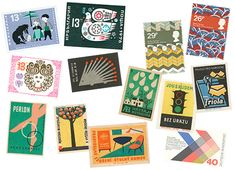 carnival: mid-century modern stamps + labels