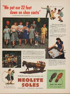 "Description: 1949 NEOLITE SHOES vintage print advertisement ""We put 22 feet down on shoe costs""""... Say the Patrick Kanes of Brooklyn. A day in Prospect Park! Many miles later, the Kanes reach the Zoo and pony rides ... Neolite Soles promise dry feet in any weather."" Size: The dimensions of the full-page advertisement are approximately 11 inches x 14 inches (28cm x 36cm). Condition: This original vintage advertisement is in Very Good Condition unless otherwise noted ()."