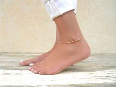 Gold Chain Anklet Gold Filled Rope Chain Anklet by annikabella
