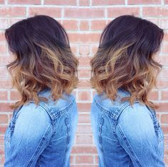 Shoulder-length slight A-line bob with some texture with a deep chocolate brown base melting into a golden ombre with gorgeous warm tones. Perfect fall hair  #ella6 #ella6studio #desireeguerrero #tucson #tucsonsalon