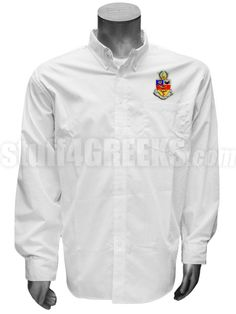 White Kappa Psi men's button down shirt with the crest on the left breast.