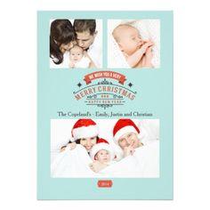 Elegant Vintage Merry Christmas Photo Card #photo #card #holiday