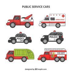 Collection of public service vehicles free vector Auto Service, Service Public, Logo Clipart, Felt Play Mat, Children Sketch, Cartoon Boy, Disney Sketches, Car Sketch, Diy Car