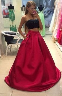 Beading Strapless Floor-length A-line Satin Prom Dresses