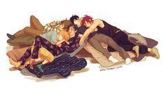   Makoto Tachibana, Haruka Nanase, Rin Matsuoka, Rei Ryugazaki, Nagisa Hazuki~Free   That's rough Buddy. Poor little Rei. But Nagisa is cuddling Rei SO FUCKING HARD!!! LOVE IT. OTP!!!!!