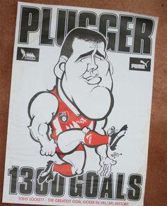 Weg Poster Tony Lockett 1300 Goals Melbourne, Sydney, Australian Football, Swans, Over The Years, Orlando, Cheer, Cartoons, Posters