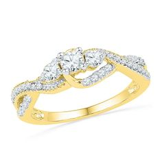 10k Yellow Gold Womens Natural Round Diamond 3-stone Bridal Wedding Engagement Ring 5/8 Cttw